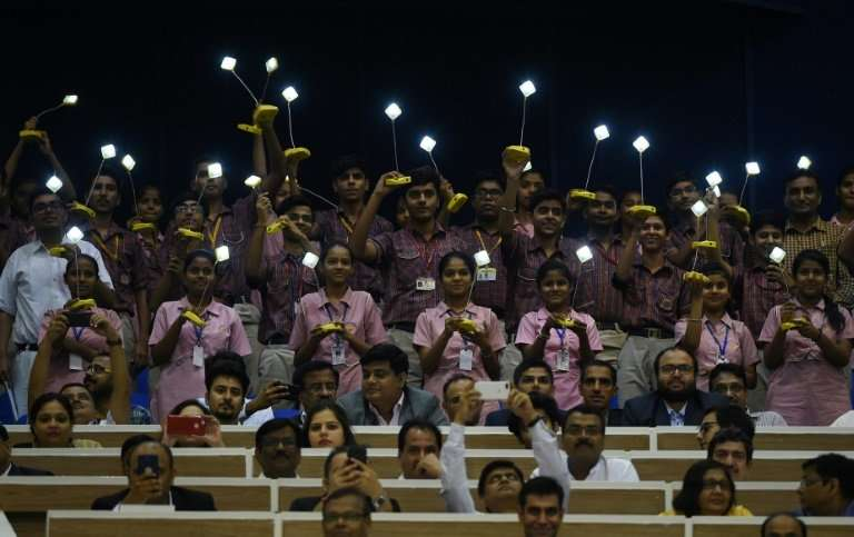 Indian school children brought their own solar lamps to the International Solar Alliance meet in New Delhi