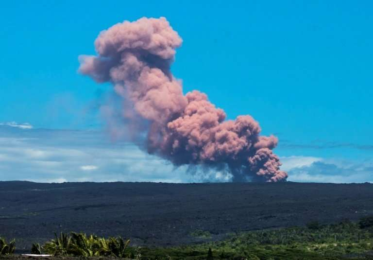 In this photo provided by Janice Wei, an ash plume rises above the Kilauea volcano on Hawaii's Big Island on May 3, 2018