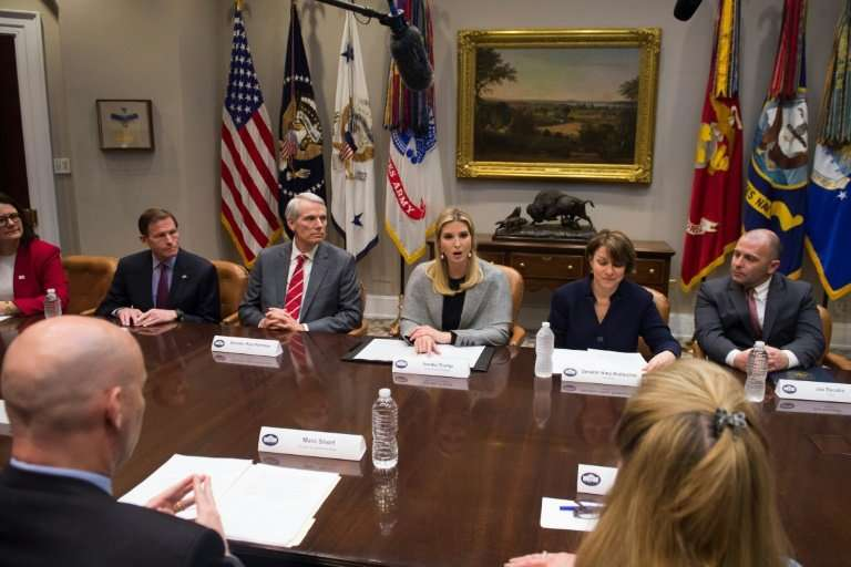 Ivanka Trump, daughter of US President Donald Trump, hosted a White House meeting on sex trafficking on March 13; she is seated