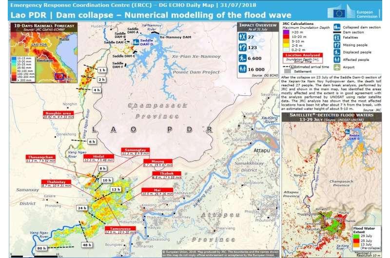 JRC analysis assists response to Laos dam collapse