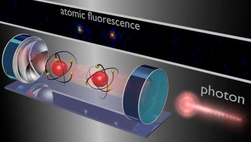 Light controls two-atom quantum computation
