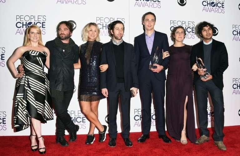 "Long-running CBS comedy ""The Big Bang Theory""—cast members Melissa Rauch, Johnny Galecki, Kaley Cuoco, Simon Helberg,"