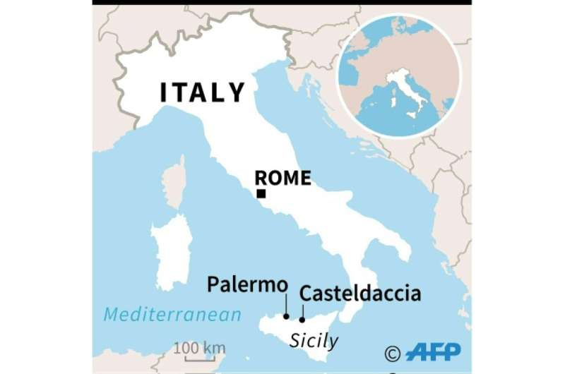 Map locating Casteldaccia in the Palermo region of Sicily where nine members of the same family drowned in floods