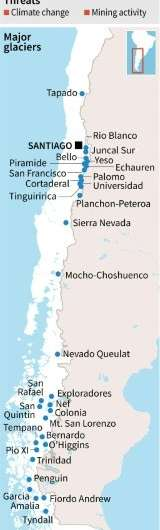 Map of Chile's major glaciers, one of the planet's fresh water reserves