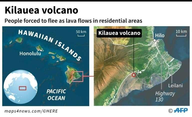 Map of the Hawaiian islands locating Kilauea volcano on Hawaii island, which erupted on Thursday, prompting an evacuation