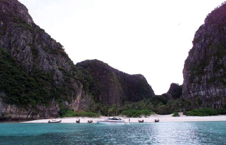 "Maya Bay in January 1999 the day before the start of shooting for the film ""The Beach"" featuring Hollywoood star Leona"