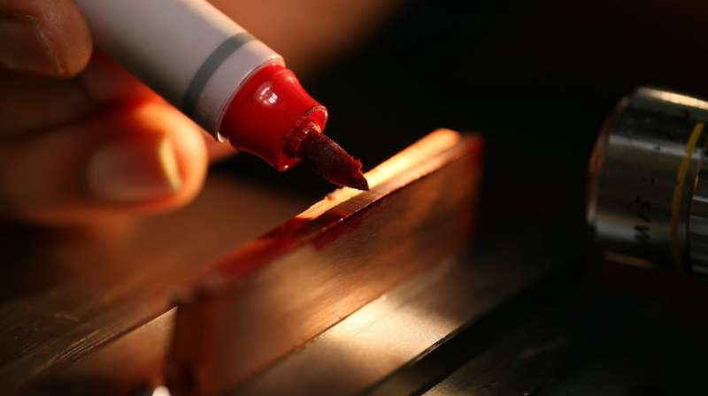 Metal too 'gummy' to cut? Draw on it with a Sharpie or glue stick, science says
