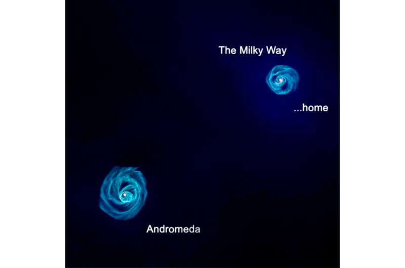 Milky Way ties with neighbor in galactic arms race