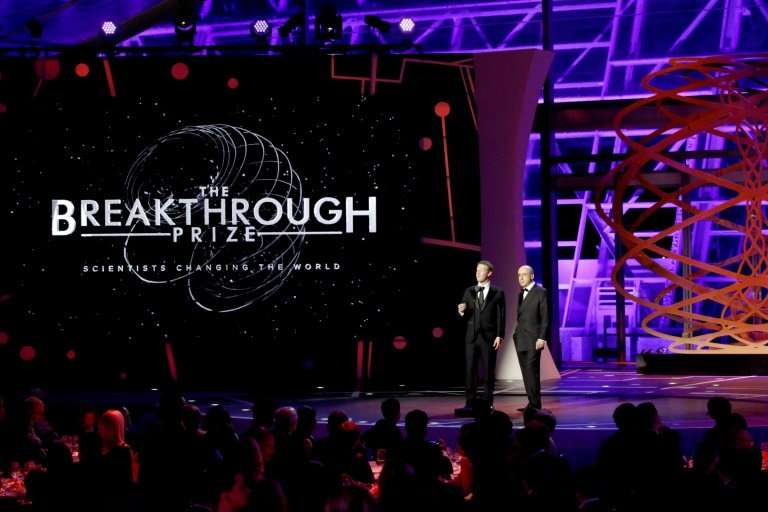 MOUNTAIN VIEW, CA - DECEMBER 04: Breakthrough Prize Co-Founders Mark Zuckerberg (L) and Yuri Milner speak onstage during the 201