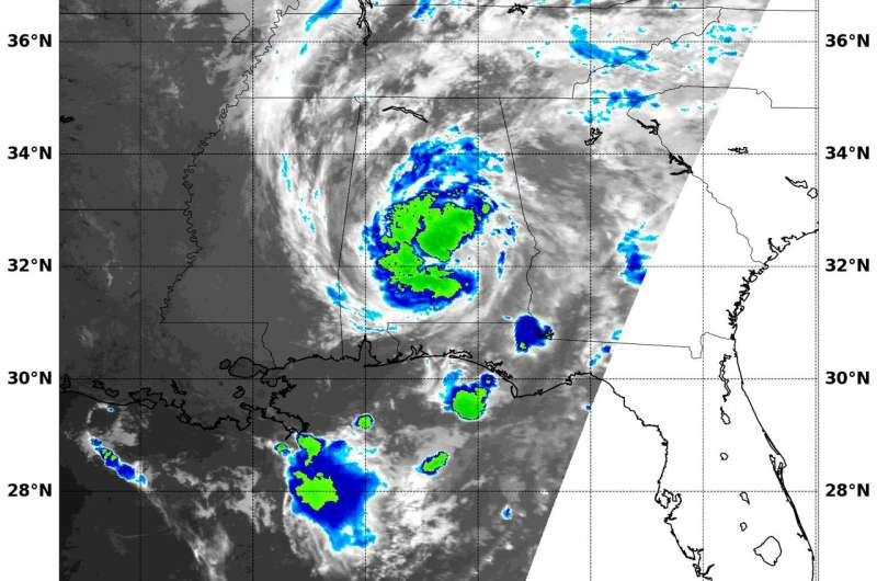 NASA and NOAA satellites track Alberto in the US south