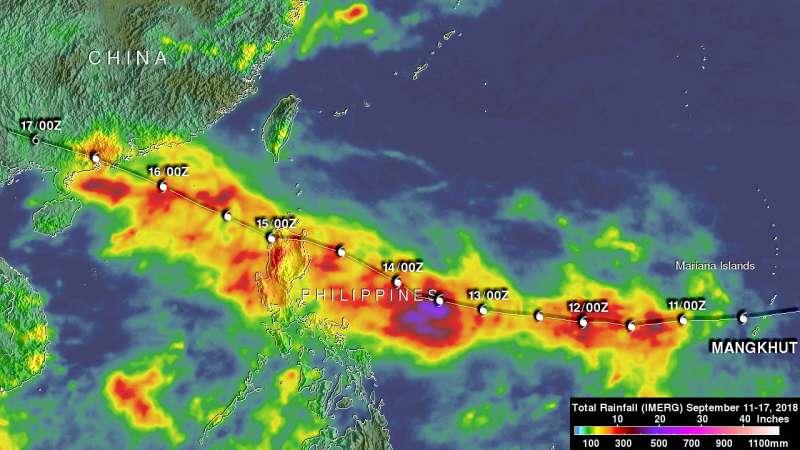 NASA created rainfall analysis for super Typhoon Mangkhut