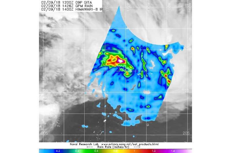 NASA finds heaviest rainfall in Tropical Cyclone Gita's northern quadrant