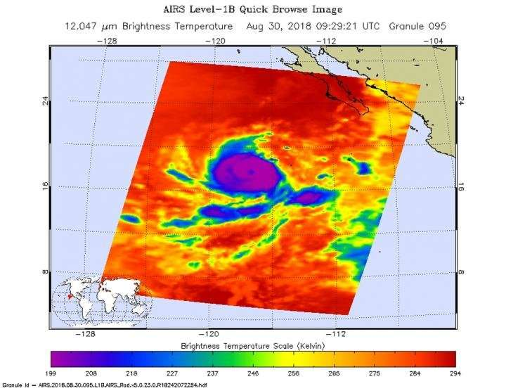 NASA finds very cold storm tops circling Hurricane Norman's center