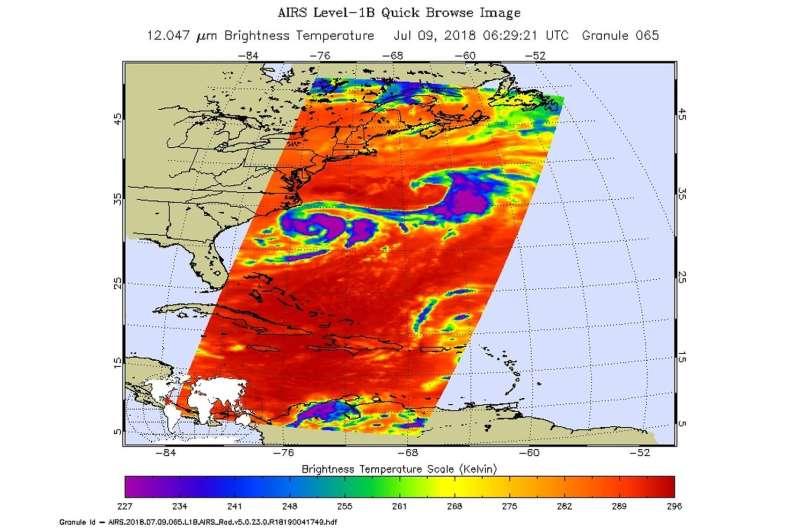 NASA gets infrared view of Carolina Chris, the tropical storm