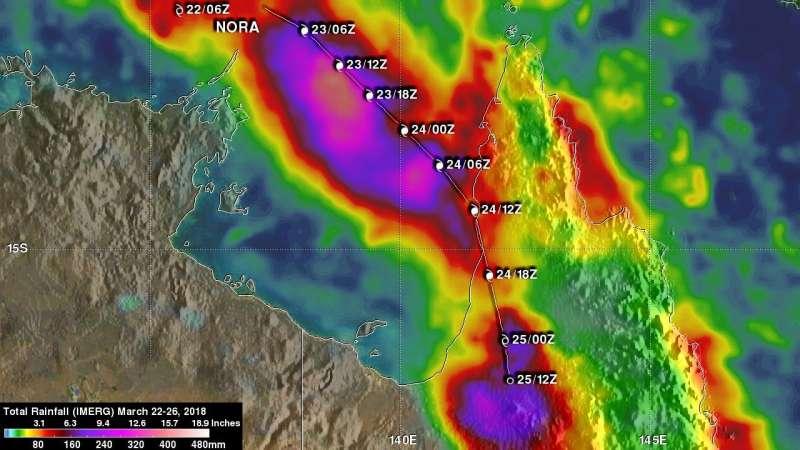 NASA measures Tropical Cyclone Nora's flooding rains in Queensland