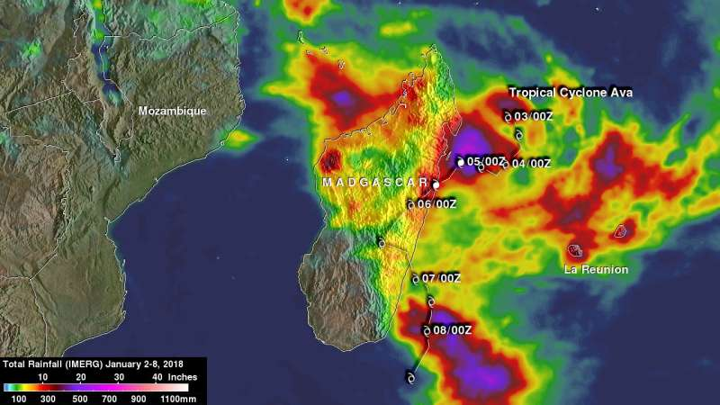 NASA's IMERG measures Tropical Cyclone Ava's disastrous rainfall
