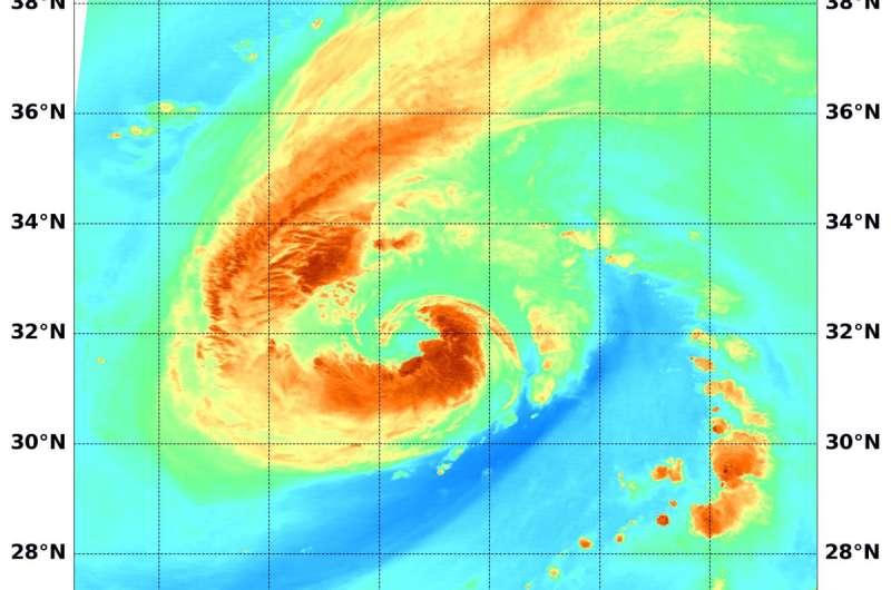 NASA soaks up Tropical Storm Leslie's water vapor concentration