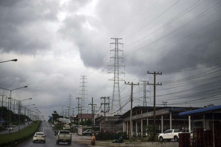New pylon towers used in power distrubution, coming from hydro power plants, run through Pak Se district in the Champasak provin