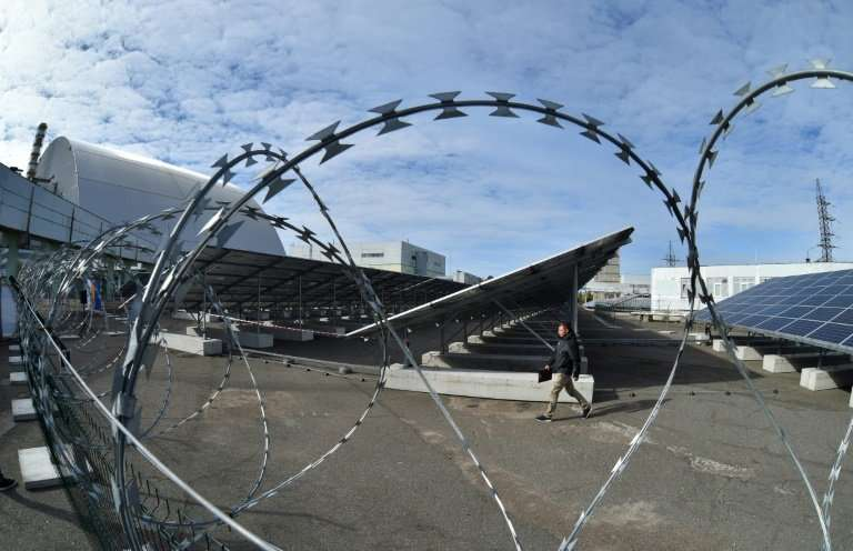 New solar panels at the site of  the closed Chernobyl power plant, scene of the world's worst nuclear disaster