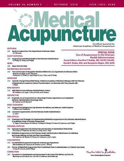 Number of veterans affairs facilities offering acupuncture growing rapidly