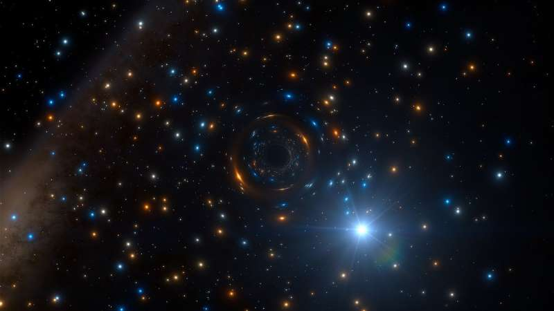 Odd behavior of star reveals lonely black hole hiding in giant star cluster