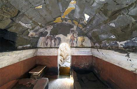 Painted tomb discovered in Cumae (Italy)—a banquet frozen in time