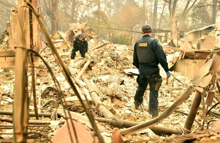 Personnel from the Alameda County Coroner's office search for human remains in the wreckage in Paradise