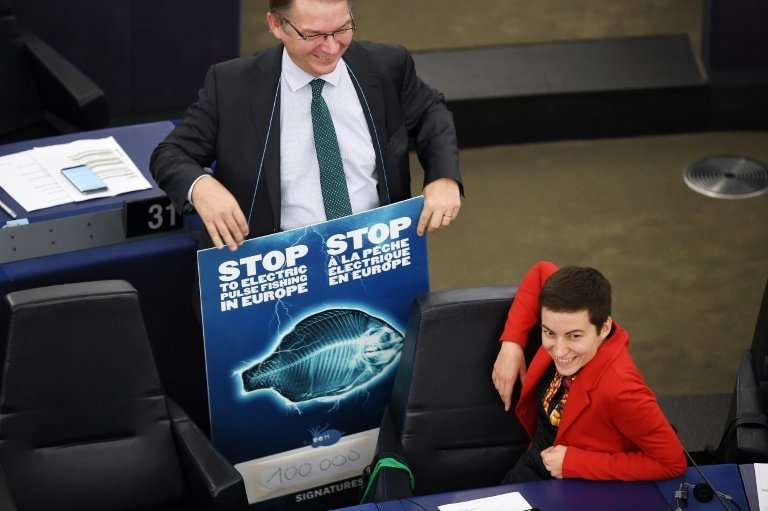 Philippe Lamberts and Ska Keller, who head the Greens bloc in the European Parliament, display a placard against pulse fishing w