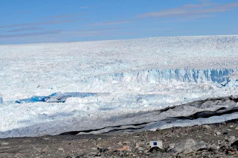 Physics of a glacial 'slushy' reveal granular forces on a massive scale