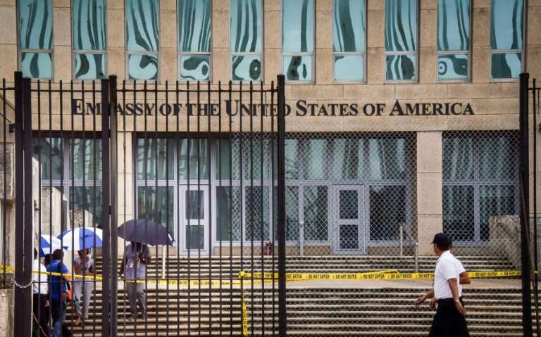 Picture of the US embassy in Havana, taken on September 29, 2017 after the United States announced it was withdrawing more than