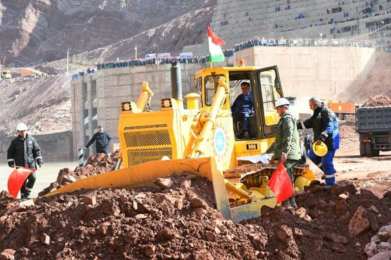 President Emomali Rakhmon has taken a keen interest in the construction of the dam, jumping behind the controls of a bulldozer i