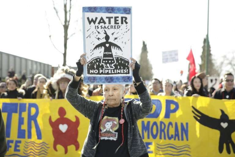 Protesters marching against Trans Mountain pipeline March 10, 2018 in British Columbia