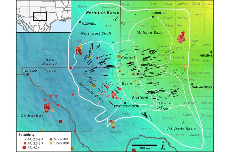 Seismic stress map developed by Stanford researchers profiles induced earthquake risk for West Texas, New Mexico