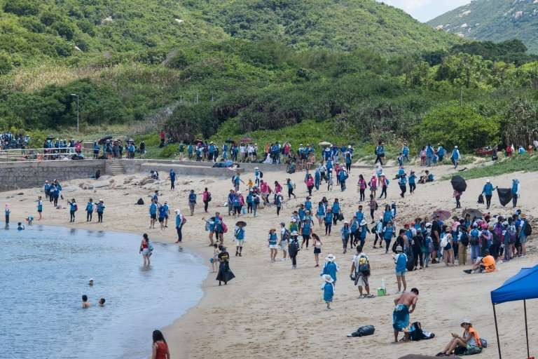 "Sunday's clean-up took place on Shek Pai Wan, near Sham Wan—known as ""Turtle Cove"" — on Hong Kong's Lamma Island"