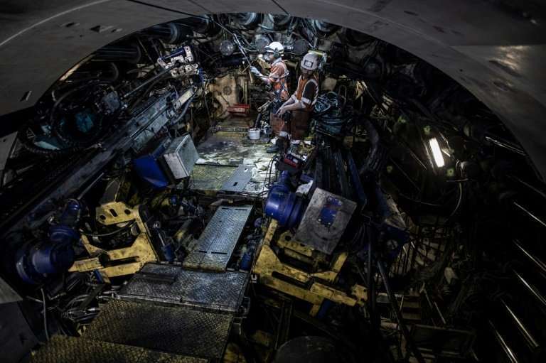 The 11-metre wide tunnel borer digs for 16 hours a day and the remaining eight are spent on maintenance