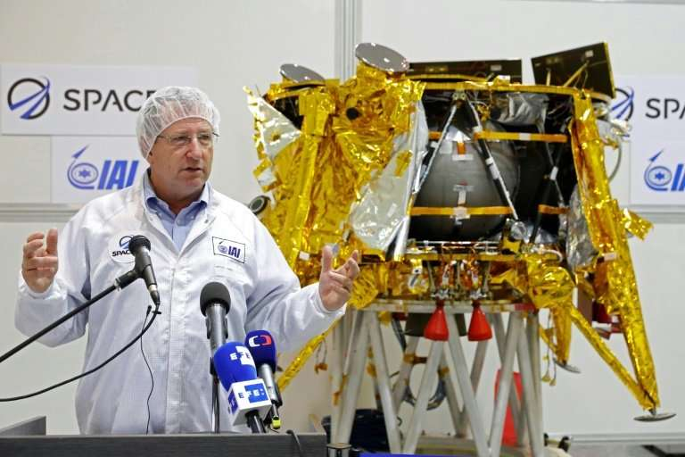 The general manager of the Israel Aerospace Industries  Opher Doron speaks to the media during a presentation of the space probe