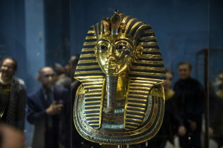 The Golden Mask of King Tutankhamun sits on display at the Egyptian Museum in Cairo on November 28, 2017