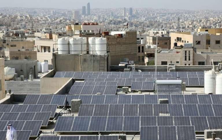 The Hamdan al-Qara mosque in southern Amman has 140 solar panels on its roof