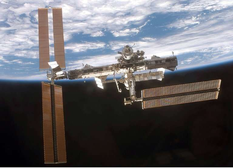 There was an abnormal pressure drop at the International Space Station, pictured 2007, due to a micro fracture, likely from a mi