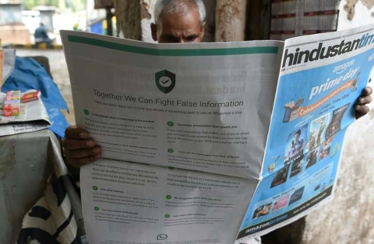 """The slick adverts in leading English and Hindi language newspapers, entitled """"together we can fight false information"""""""