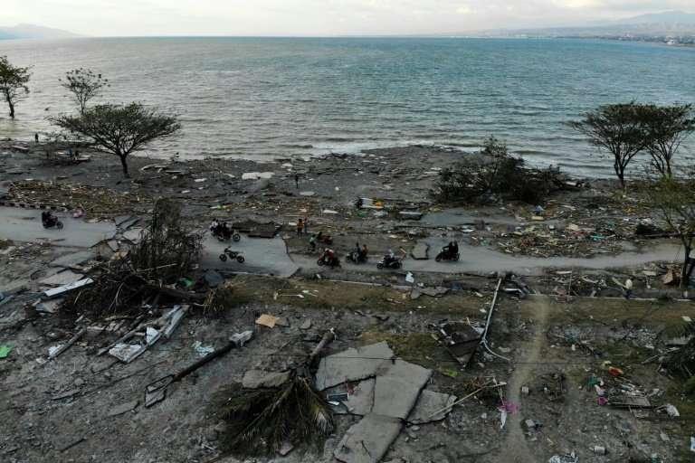 The tsunami crashed into the seaside city of Palu