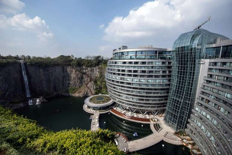 The waterfall is one of the development's most eye-catching features