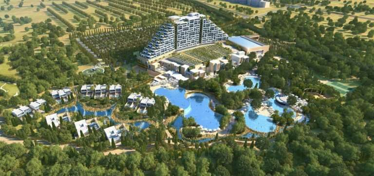 """This handout illustration released by Melco PR shows the """"City of Dreams Mediterranean"""" casino complex to be built by"""