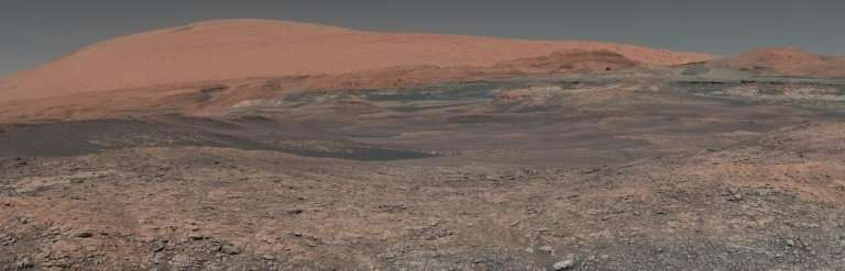 This image montage taken by NASA's Curiosity rover shows the surface of planet Mars, which researchers believe hardened only 20