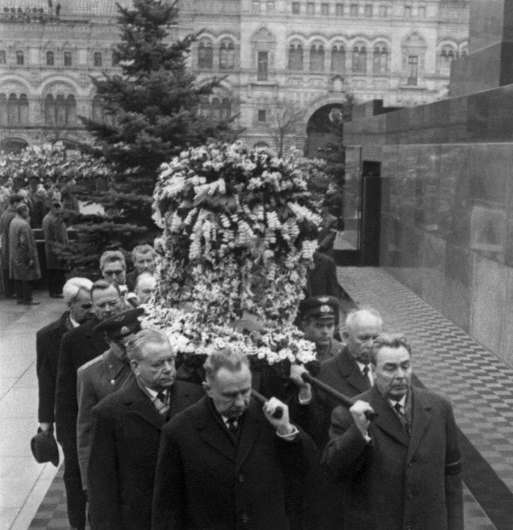 Top Soviet officials, including Leonid Brezhnev (R), carry Yury Gagarin's coffin at his funeral in Moscow
