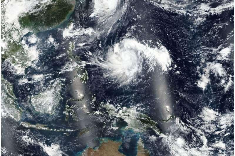 Typhoon Kong-rey Moving through northwestern Pacific