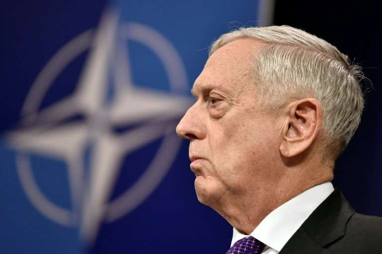 US Defense Minister Jim Mattis, seen here at a news conference at NATO headquarters February 15, 2018, is puzzling over the impa