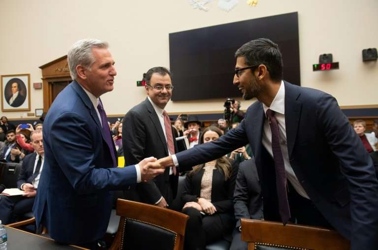 US House Majority Leader Kevin McCarthy (L), Republican of California, shakes hands with Google CEO Sundar Pichai as he arrives