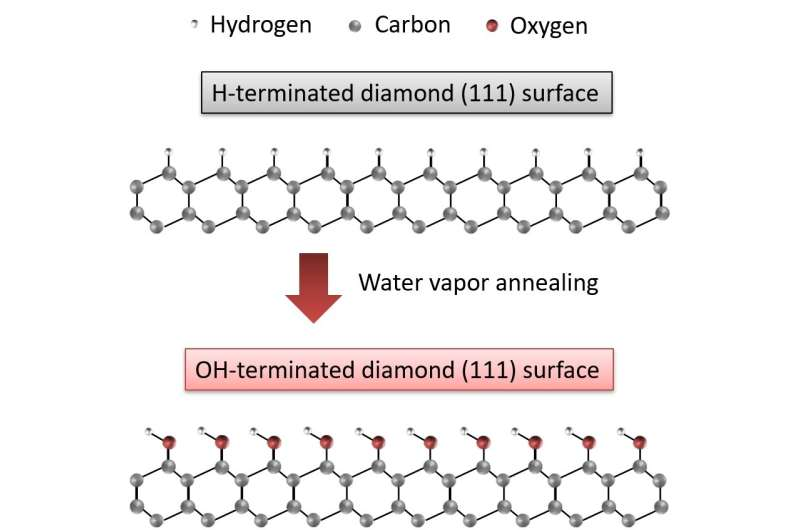 Water vapor annealing technique on diamond surfaces for next-generation power devices