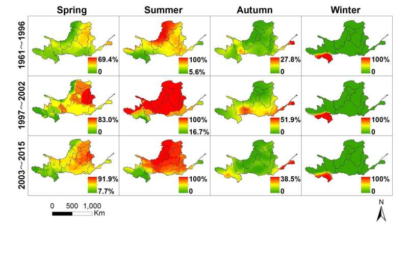 When and where did the drought occur severely in the Yellow River basin during the last 55 years?